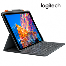 Logitech Slim Folio For Ipad 7th gen (Integrated Keyboard, Holder Pencil, Bluetooth LE, Water Repellent)