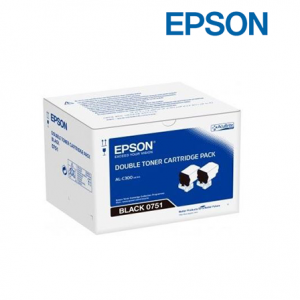 Epson C13S050751 Double Black Toner Pack (Twin Pack, For AL-C300DN, 7,300 x 2 Page Yield)